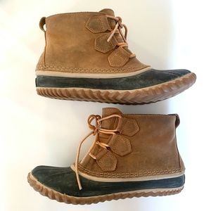 Sorel Out 'N About Leather Rubber Duck Boots Sz 8